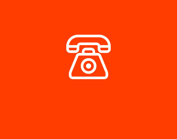telephone on red background