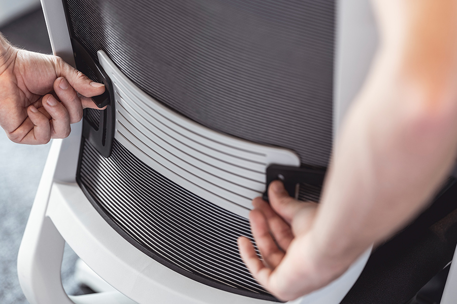 Reduce back pain by adjusting the lumbar support on your Yaasa Chair.